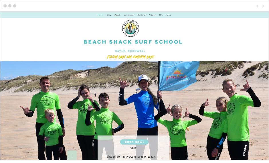 Sito web della scuola di surf Beach Shack