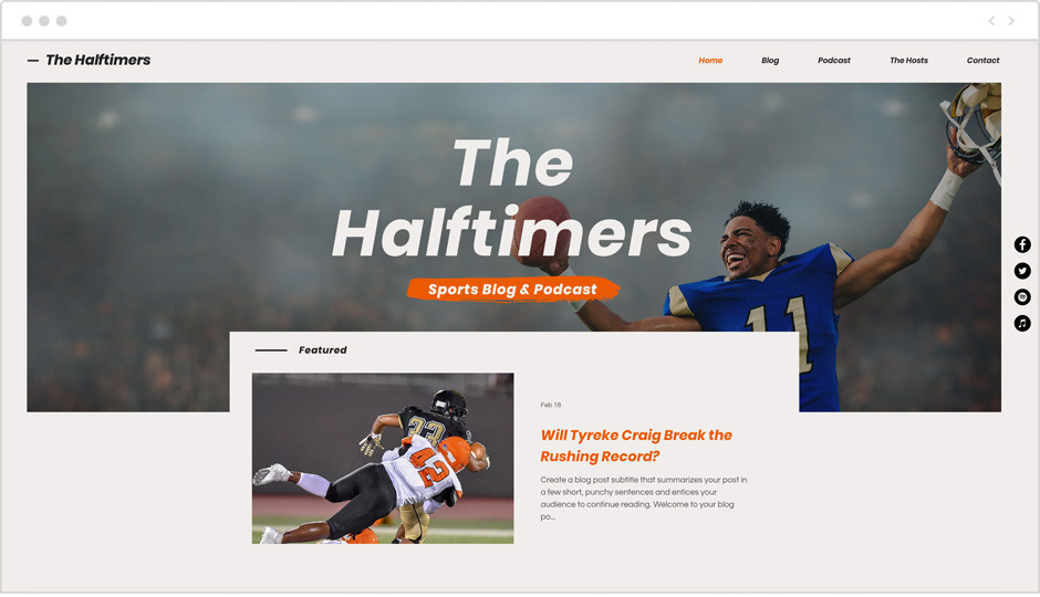 Vorlage eines Sport Blogs als Beispiel für Website-Ideen