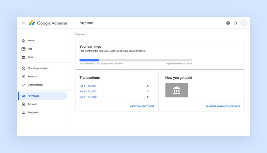 구글 애드센스에서 보여지는 결제 페이지 창의 이미지