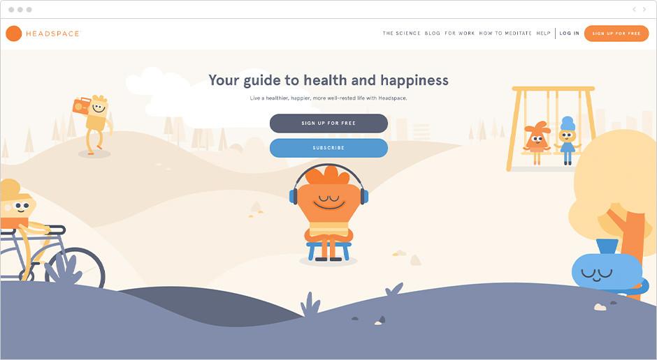Página de inicio de HeadSpace