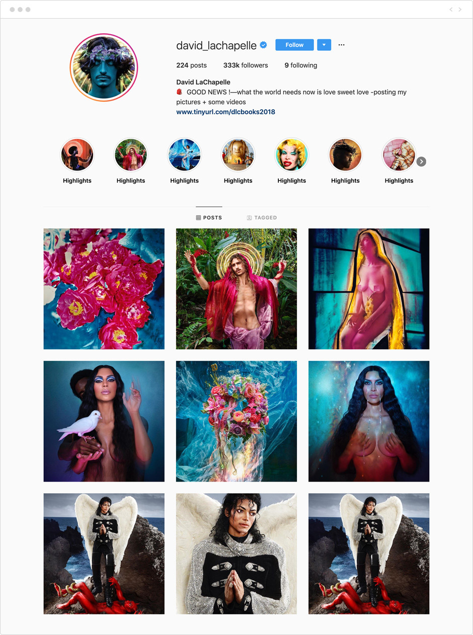 Feed de Instagram de David LaChapelle