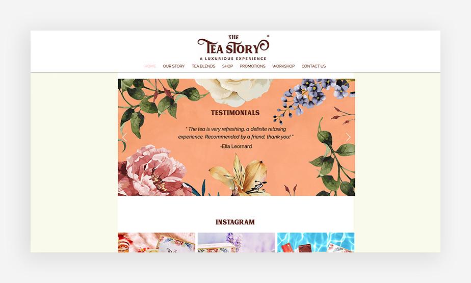 Het beste website voorbeeld van the Tea Story