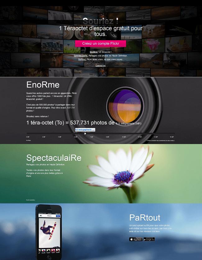 Capture d'écran du site Flickr