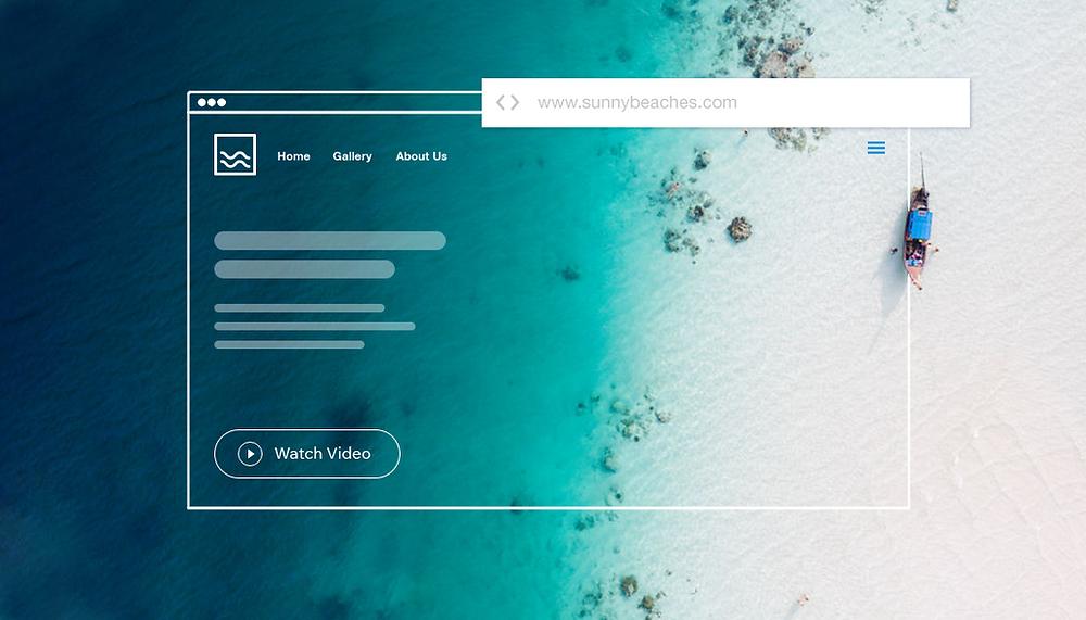 Screenshoot eines Browserfensters mit Strandaufnahme von oben