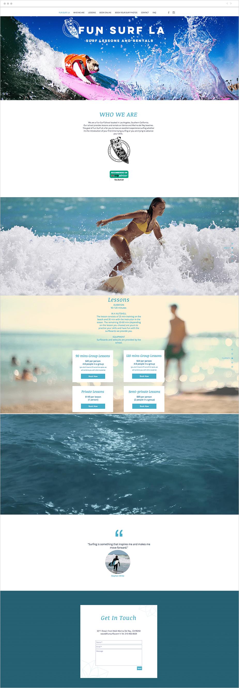 Wix Bookings website: Fun Surf LA