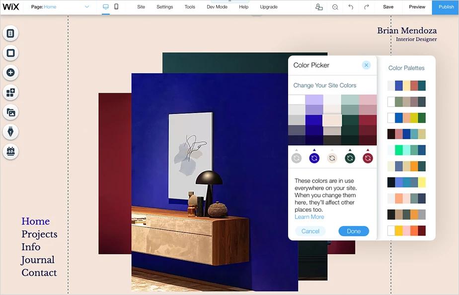 Screenshot der Website eines Inneneinrichters mit Farbauswahl als Beispiel für Websites von Dienstleistungsunternehmen