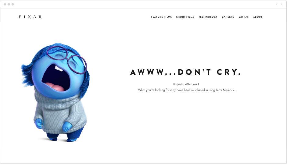 Pixar - page erreur 404