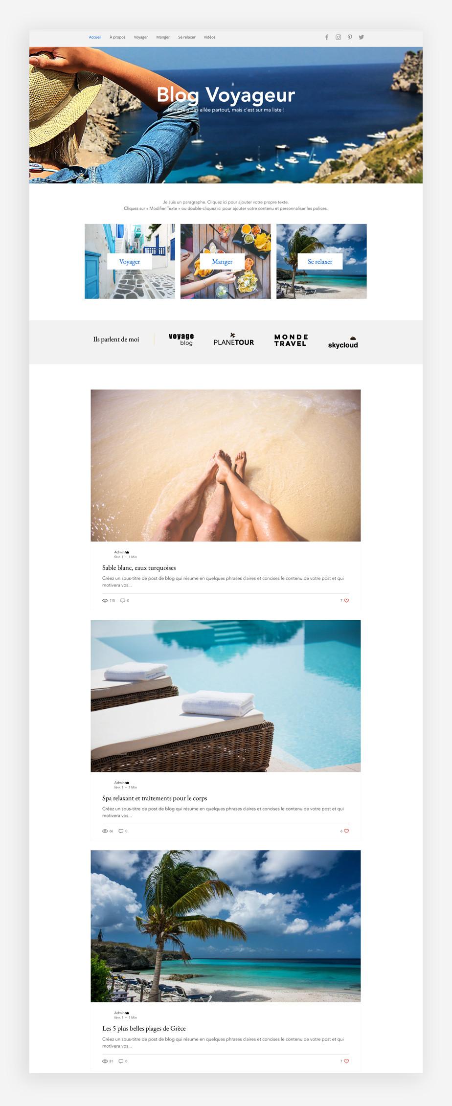 template de blog de voyage
