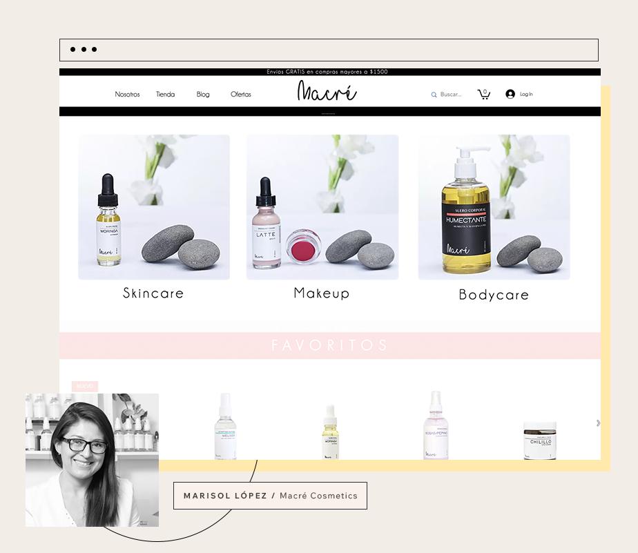 Pagina web de Macre Cosmetics