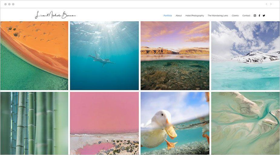 Homepage portfolio di foto online di Lisa Michele Burns