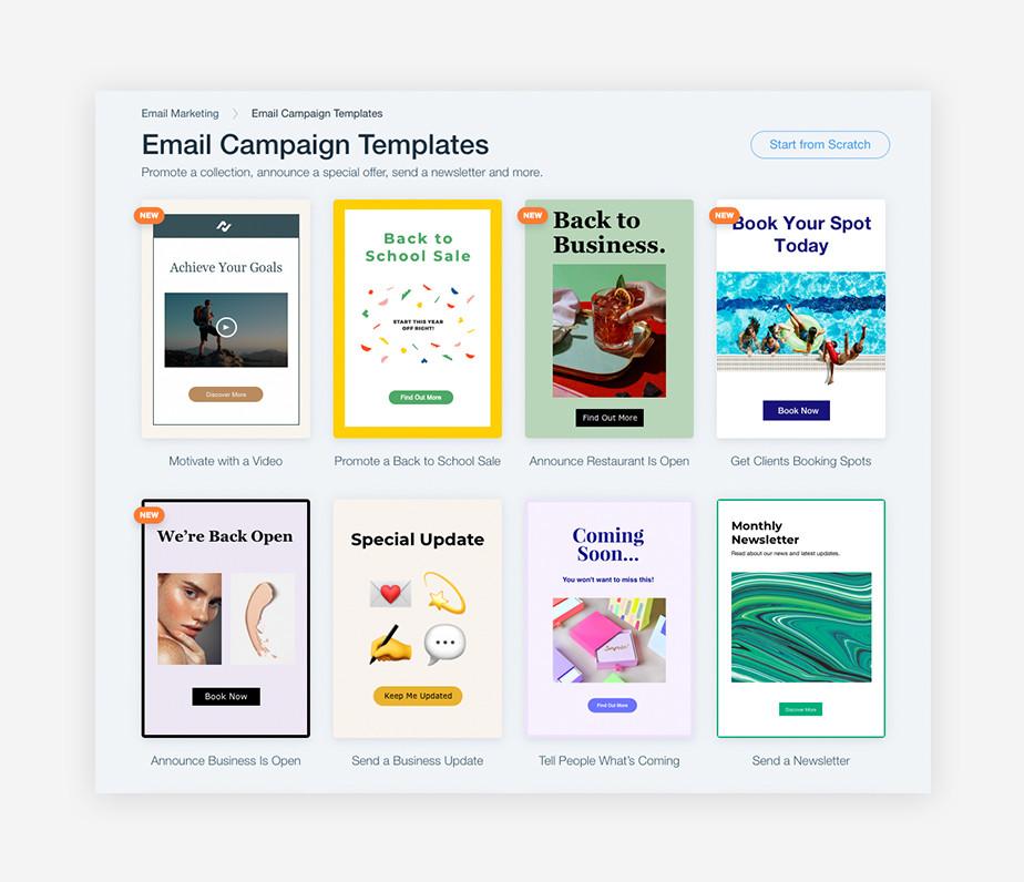 Diferentes plantillas de diseños de correos electrónicos