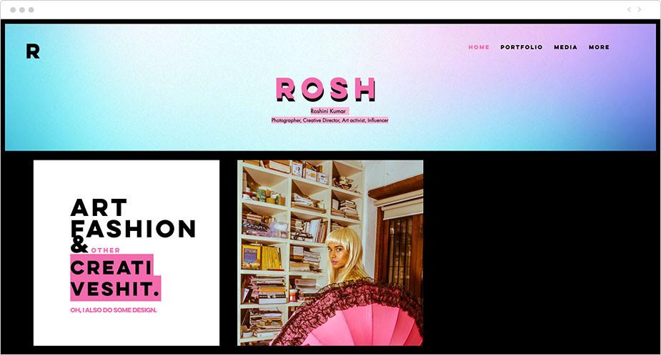 Página de inicio en colores flúor de la web de Roshini Kumar