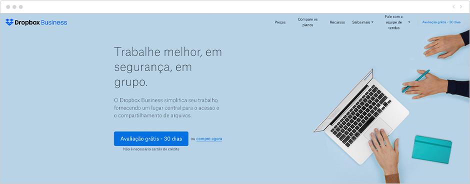Página de inicio de Dropbox