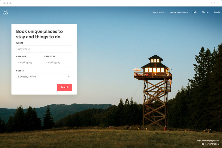 Best homepage design Airbnb