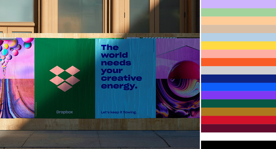 Paleta de cores do Dropbox