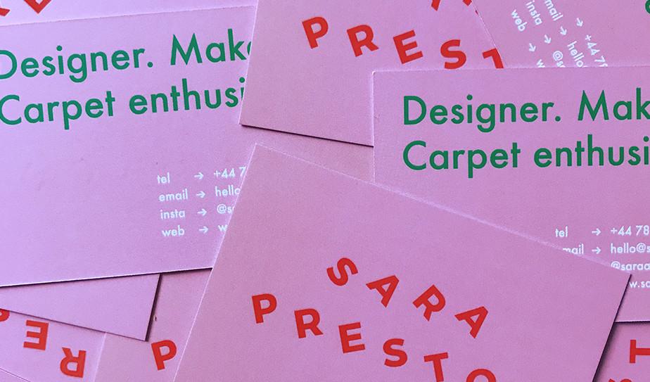 Cartão de visita de Sara Preston