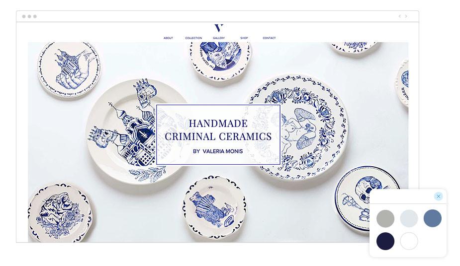 web de cerámicas hecha con Wix