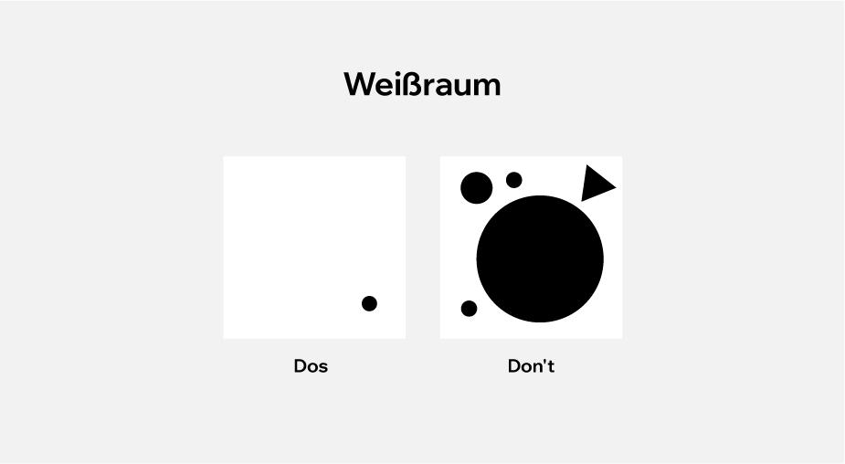 Visuelle Darstellung von Weißraum im Webdesign mit Dos und Dont's