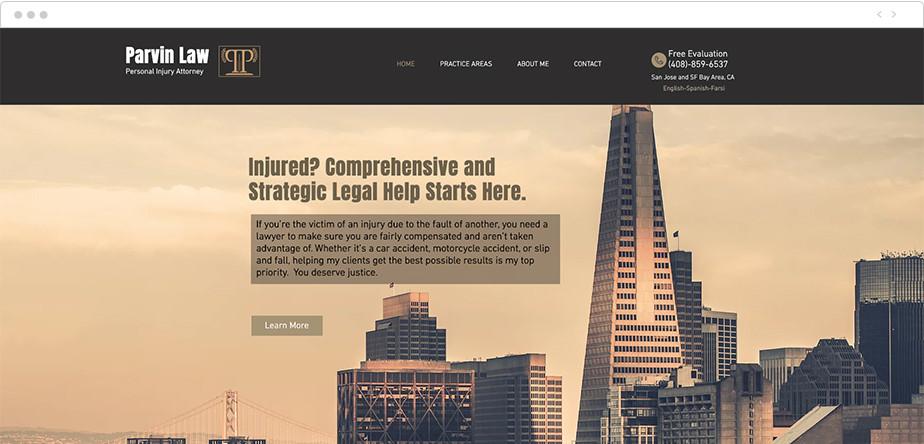 Best law firm websites Parvin Law