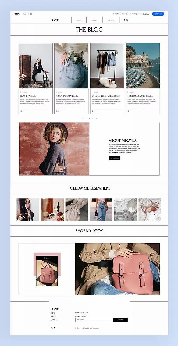 Template di siti belli creati con Wix per un blog di moda