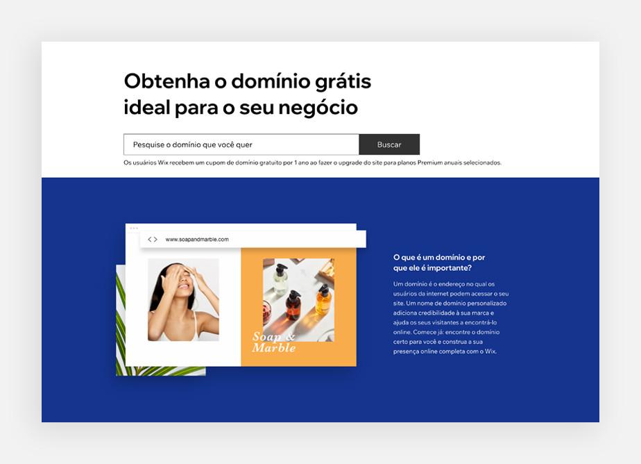 Página de domínios Wix