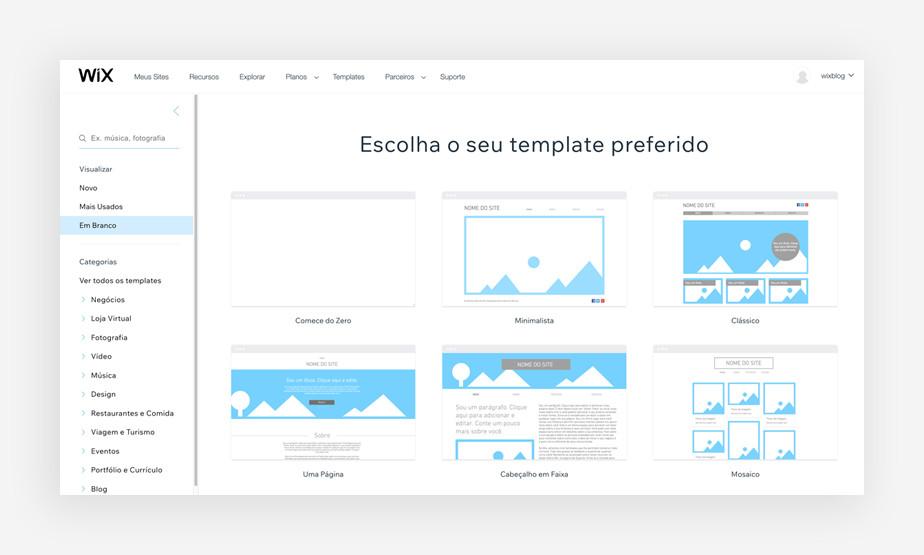 Tipos de layout disponíveis para templates em branco do Wix