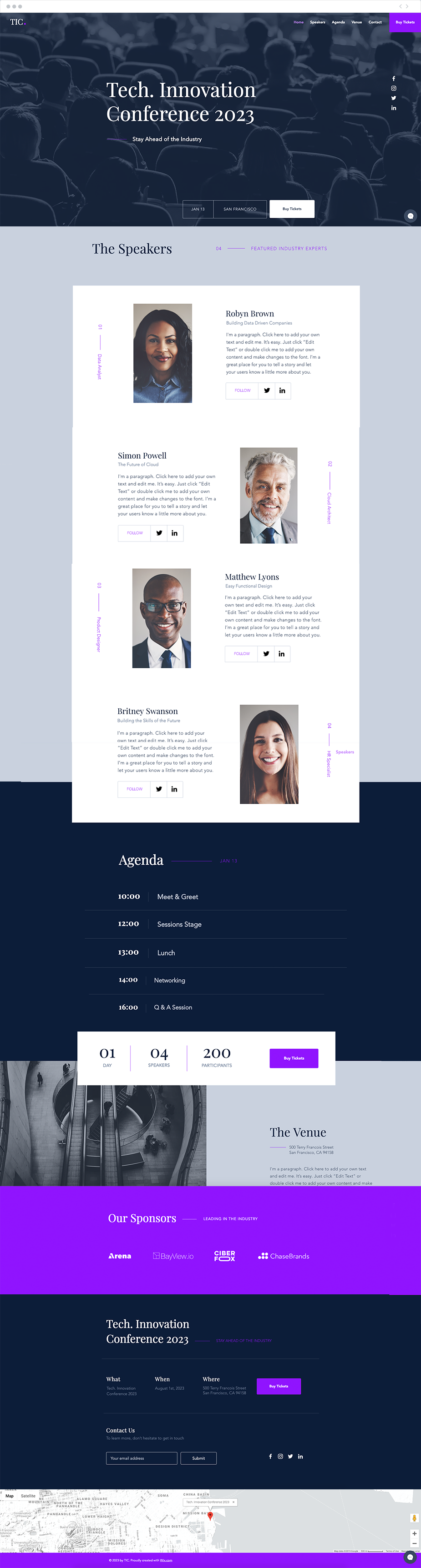 Tech conference free landing page template
