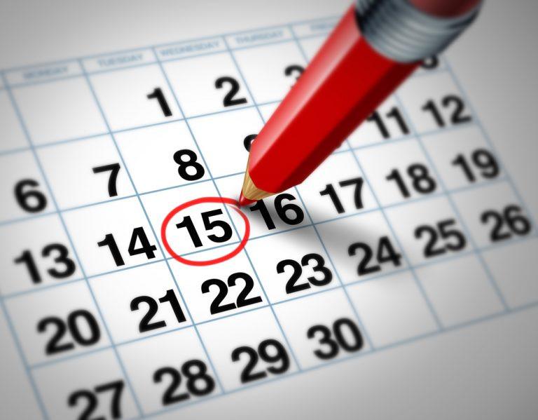 Imagen de un calendario con el día 15 marcado con un círculo rojo