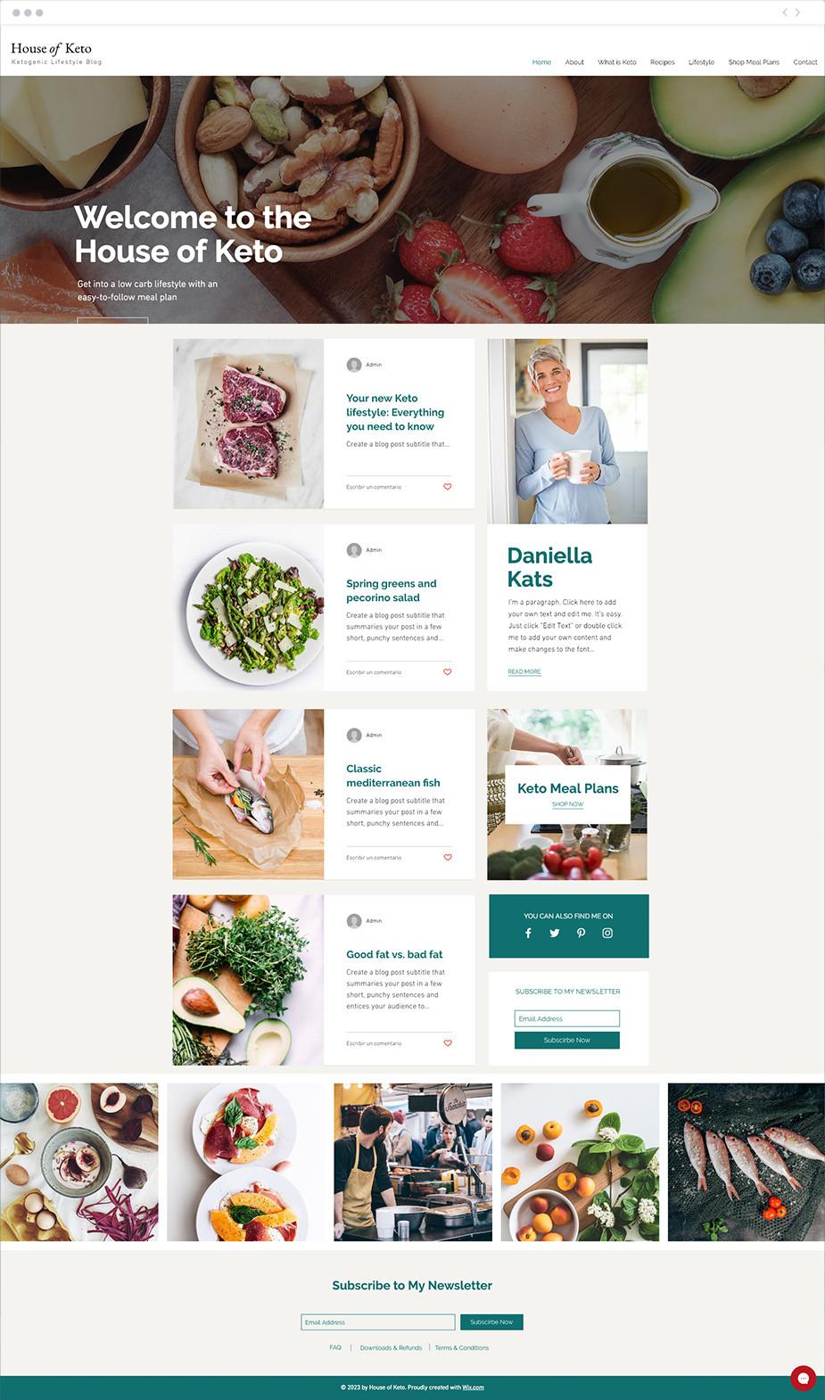 Plantilla web para blog sobre dietas