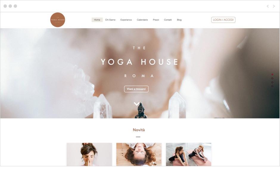 Sito web di Yoga House per il fitness