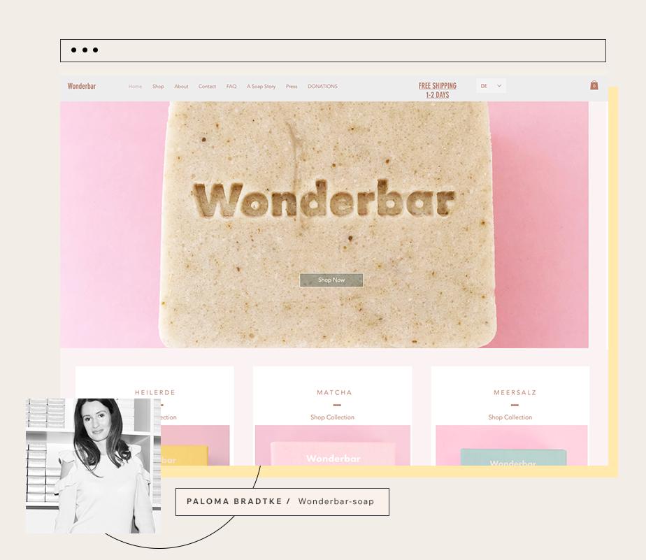 Bild der Website Madeleine's homemade Ice Cream mit Gründerin Paloma Bradtke