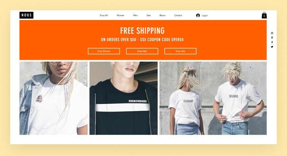 Template para loja virtual de camisetas