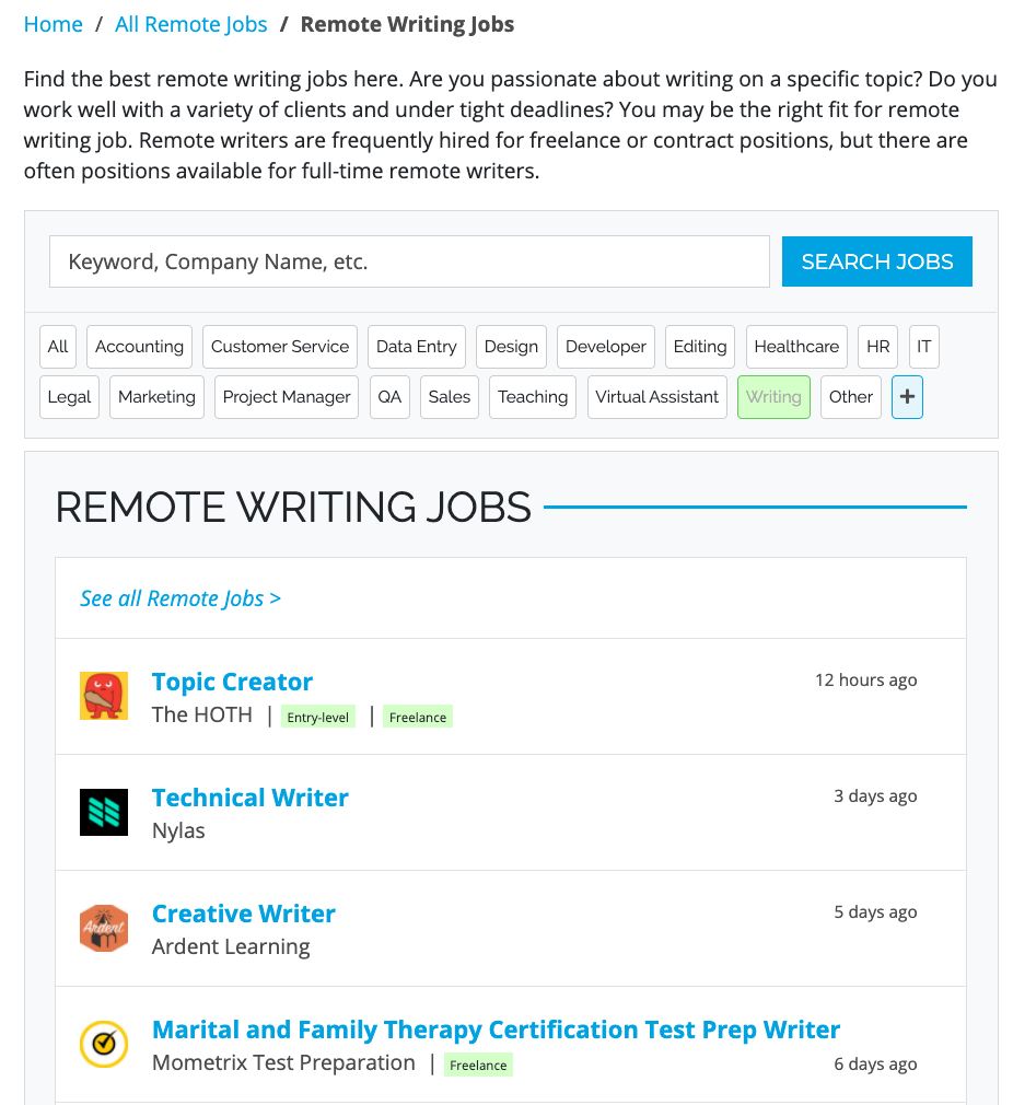 Remote freelance writing job