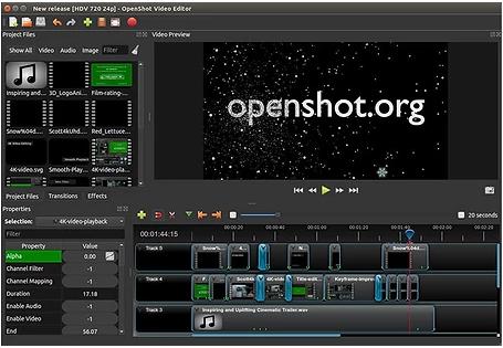Interface des Videobearbeitungsprogramms von Openshot