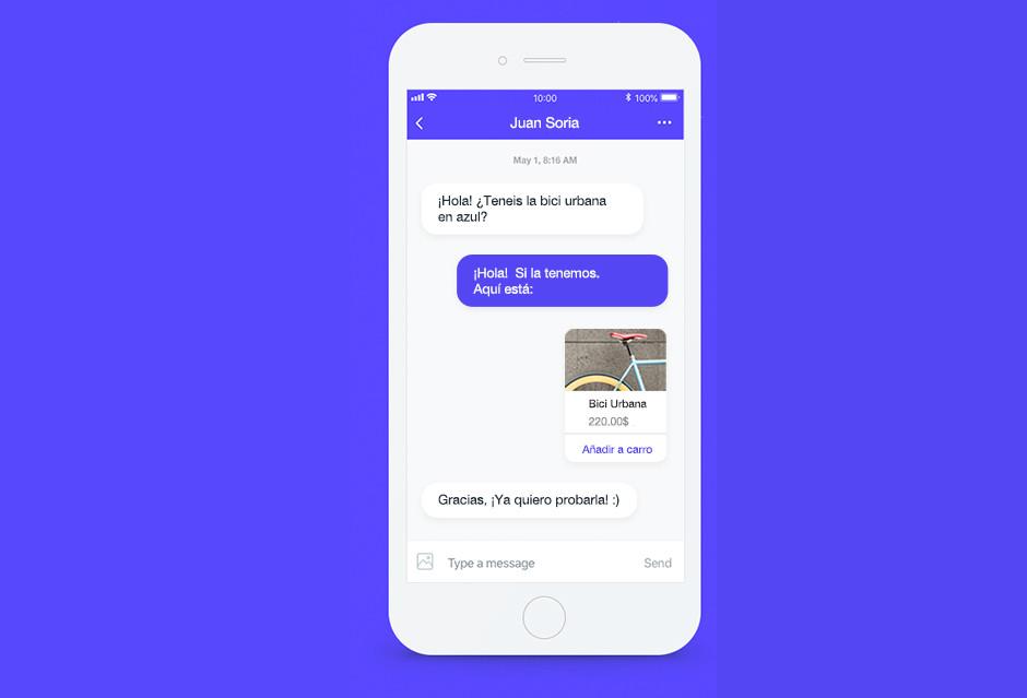 Ejemplo de conversación de venta de productos a través del chat
