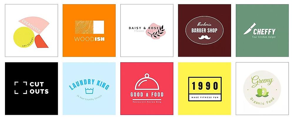 Exemplos de logos criadas com o Criador de Logo Wix