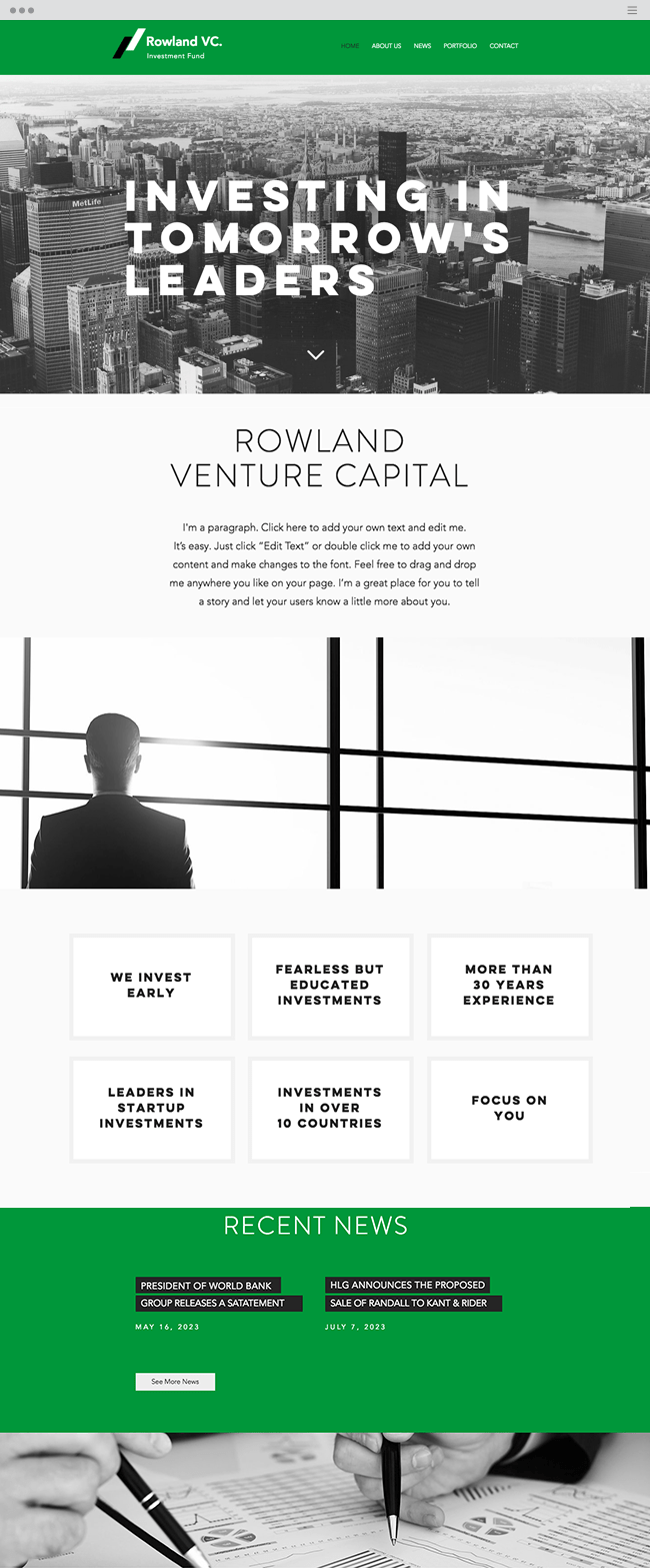 шаблон для инвестиционной компании