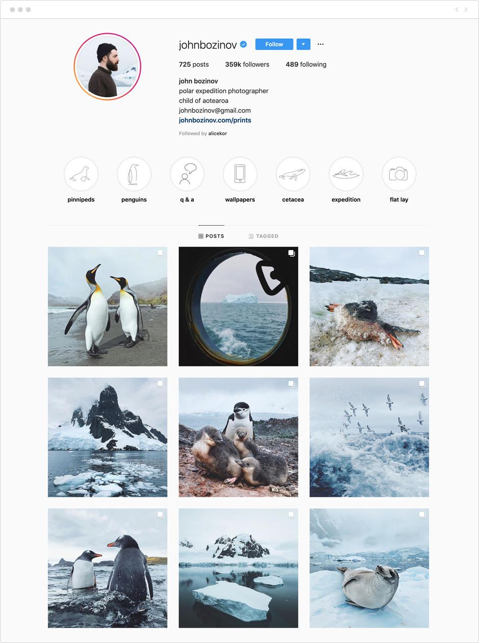 Feed de Instagram de John Bozinov