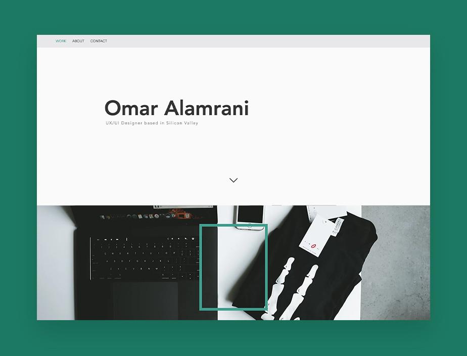 UX/UI 디자이너인 오마르 알람라니의 포트폴리오 웹사이트 이미지