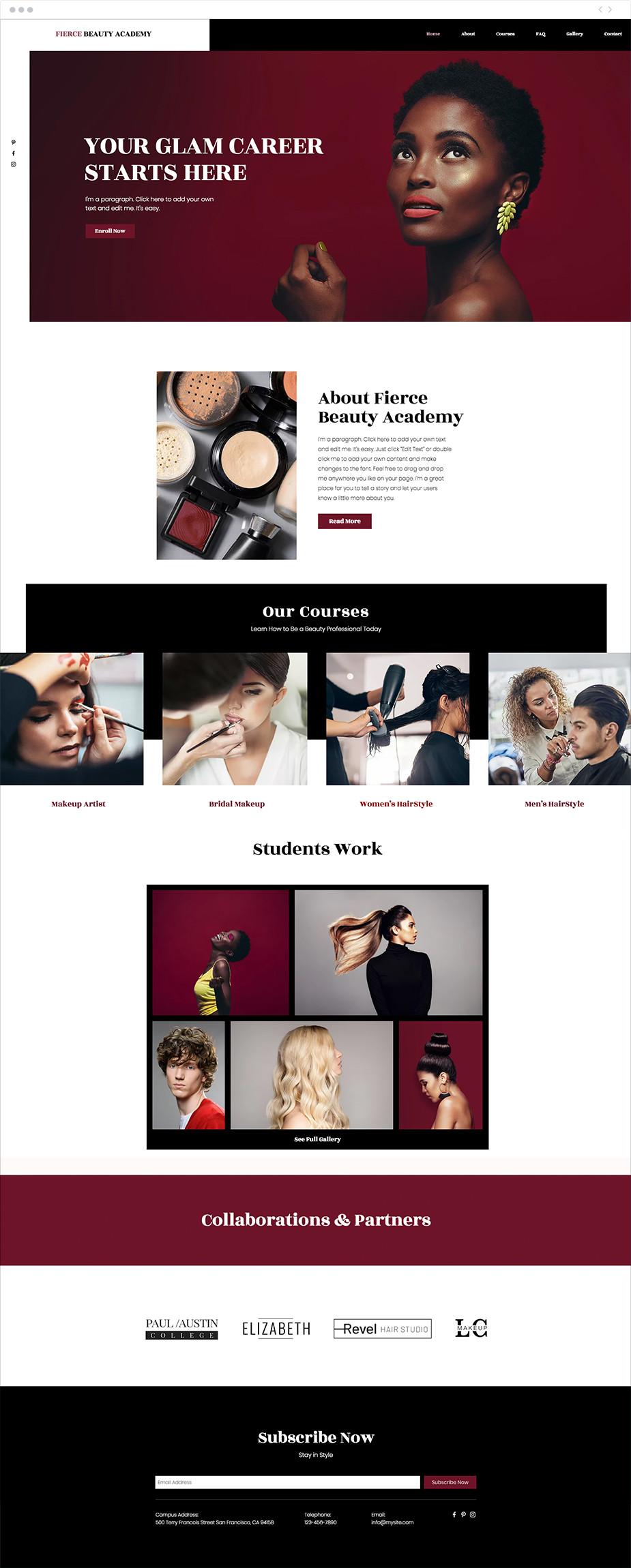 Plantilla web para academia de belleza y estética
