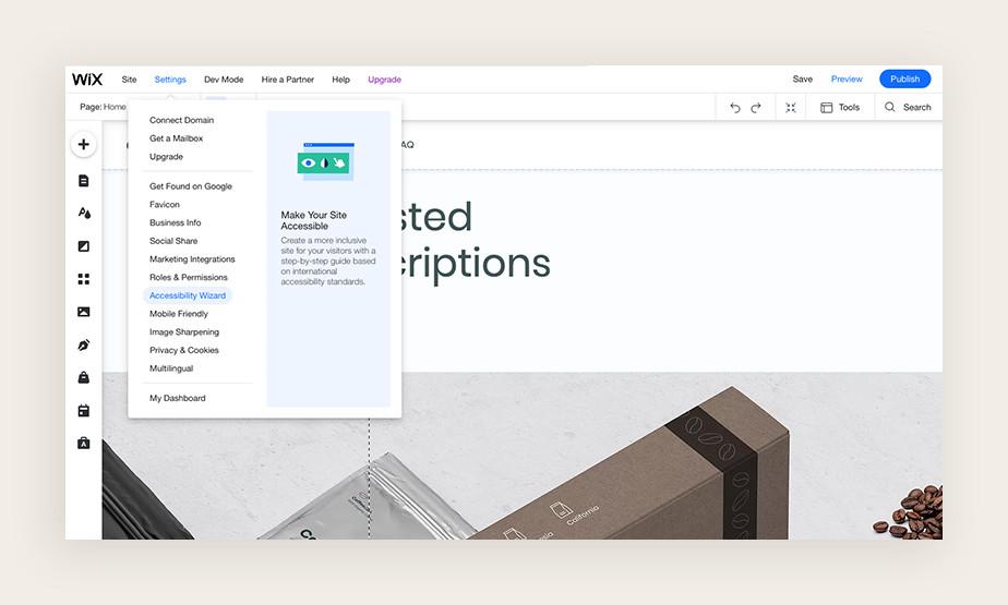 Screenshot van Wix editor waarin geavanceerde toegankelijkheidsinstellingen te zien zijn