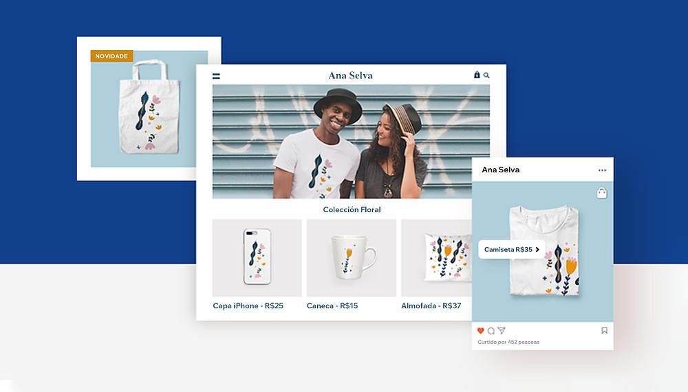 Página de loja virtual vendendo artigos personalizados com print on demand