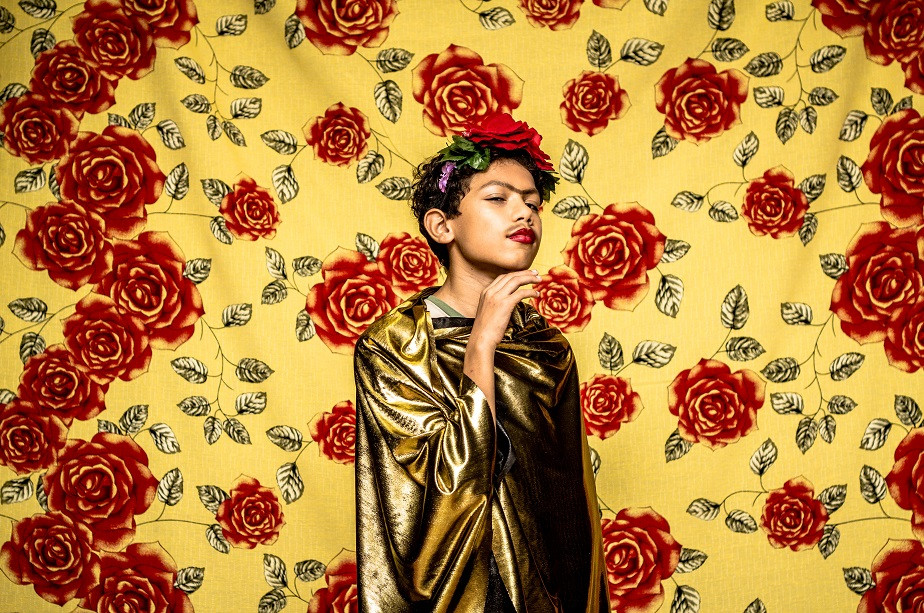 Portrait of a young boy dressed as Frida Kahlo by Wix photographer Camila Fontenele