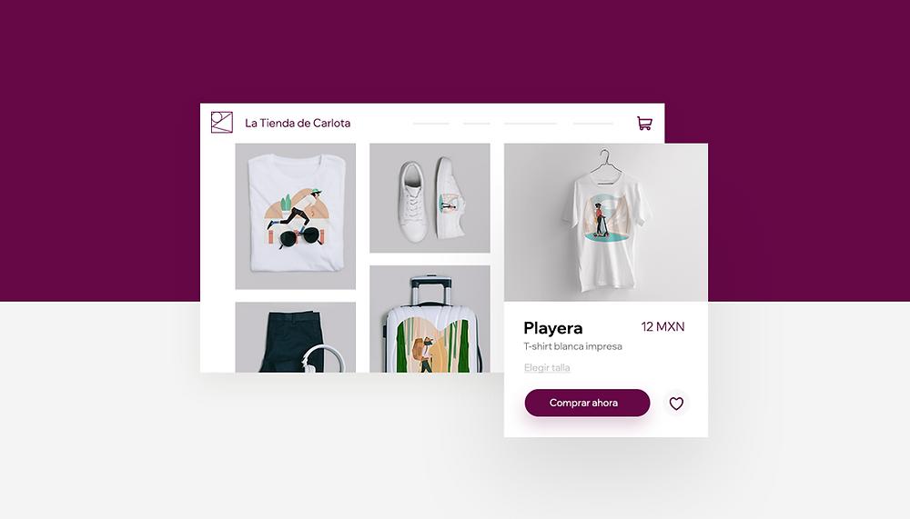 Imagem de vitrine online com camisetas brancas, tênis branco e acessórios