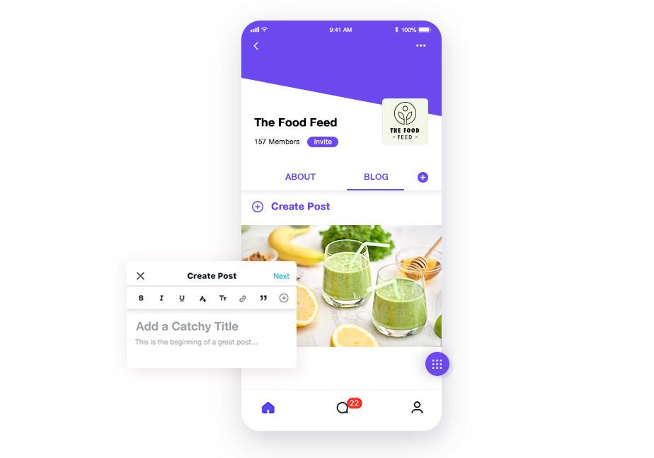 Страница приложения, зеленый смузи, бананы
