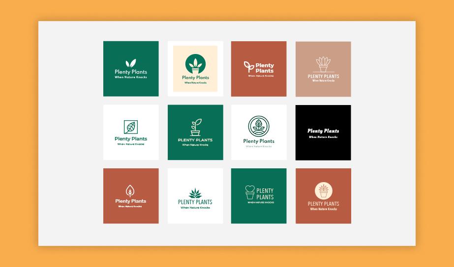 """Diversas opçõe de logo para a mesma marca fictícia de plantas e arranjos florais """"Plenty Plants"""""""