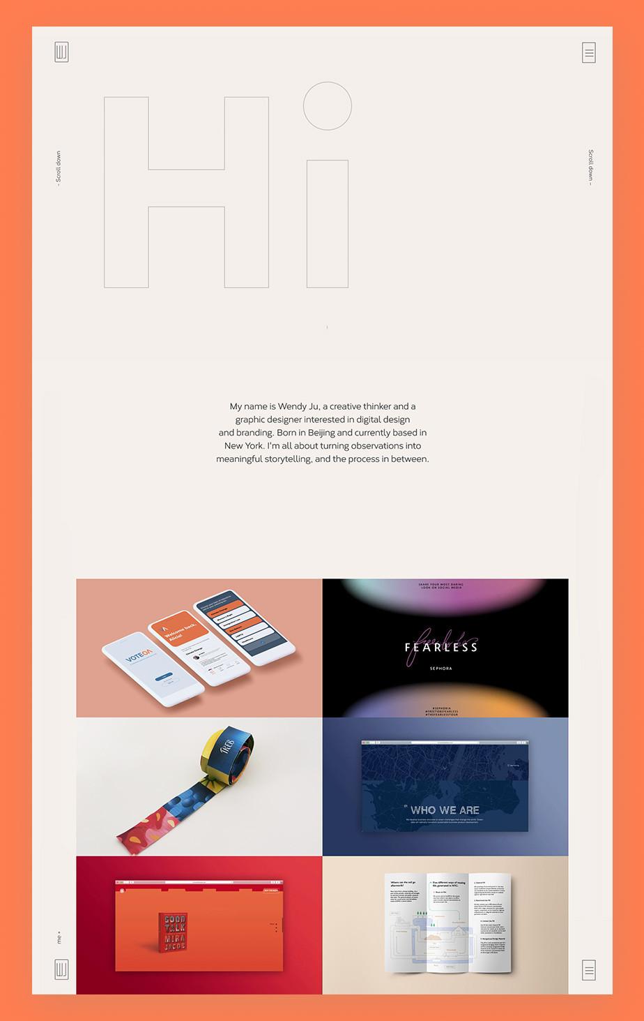Home page del sito web di Wendy Ju