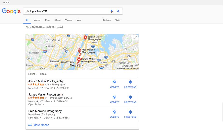 Поисковая выдача в Google Maps