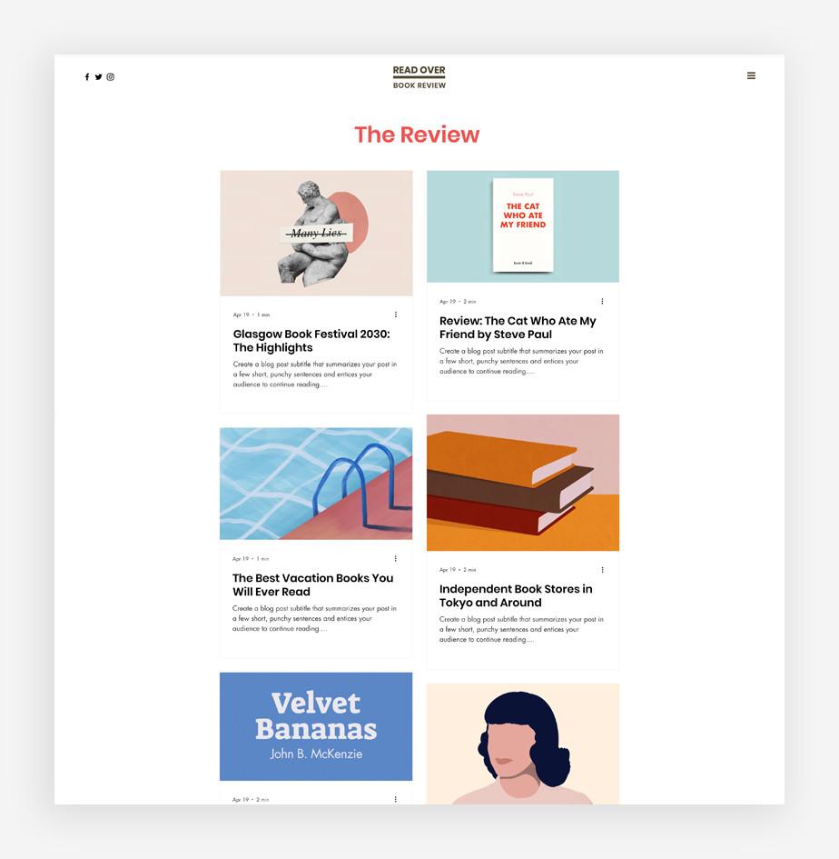 Ejemplo de plantilla de blog de literatura
