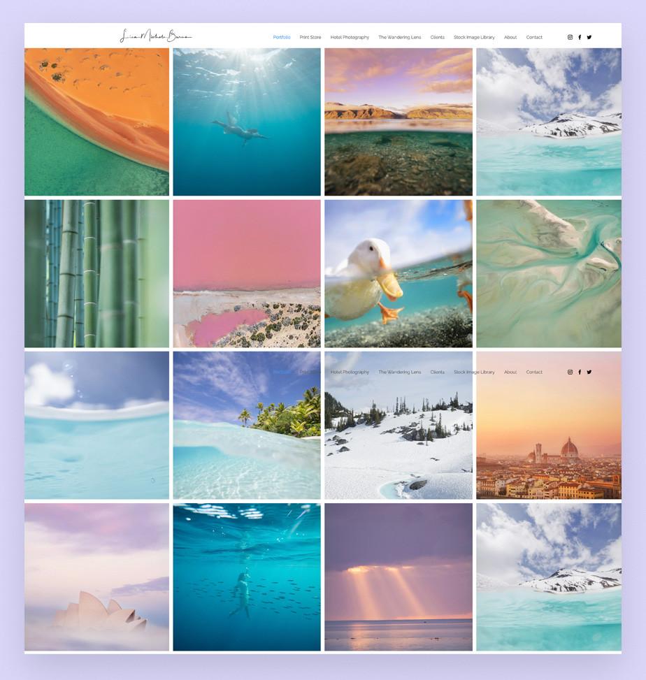 Screenshot da página inocial do site de portfolio da fotógrafa Lisa Michele Burns